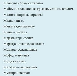 Татарские женские имена (М)